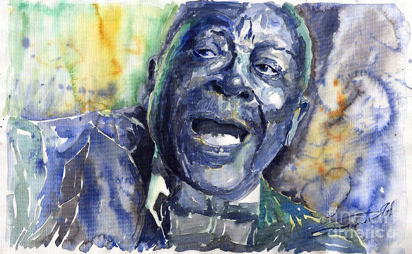 Jazz Art Print featuring the painting Jazz B.b.king 04 Blue by Yuriy Shevchuk