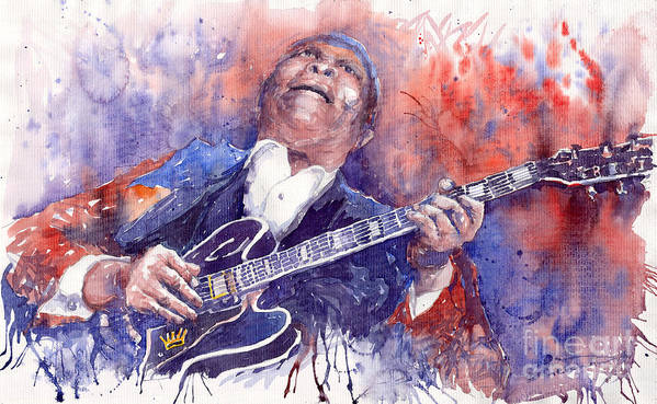 Jazz Art Print featuring the painting Jazz B B King 05 Red by Yuriy Shevchuk