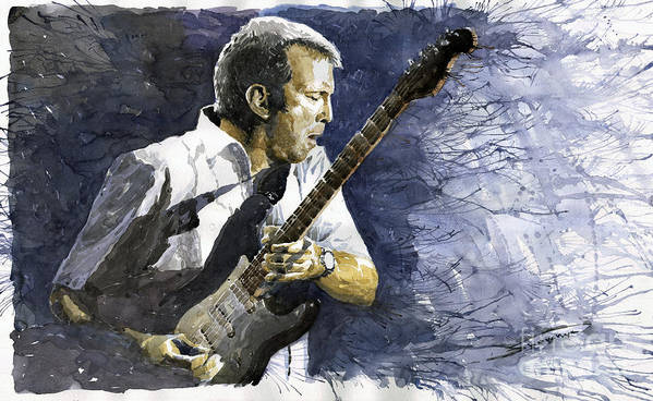 Eric Clapton Art Print featuring the painting Jazz Eric Clapton 1 by Yuriy Shevchuk
