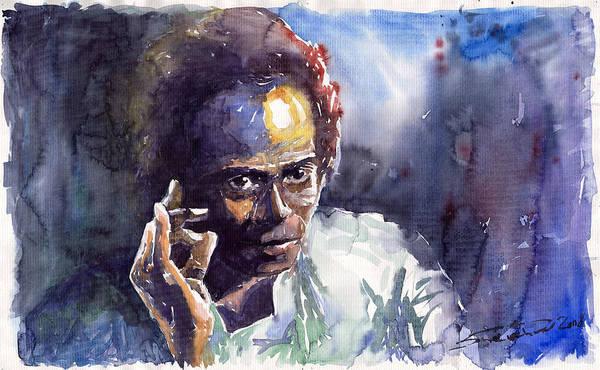 Jazz Watercolor Watercolour Miles Davis Portret Art Print featuring the painting Jazz Miles Davis 11 by Yuriy Shevchuk
