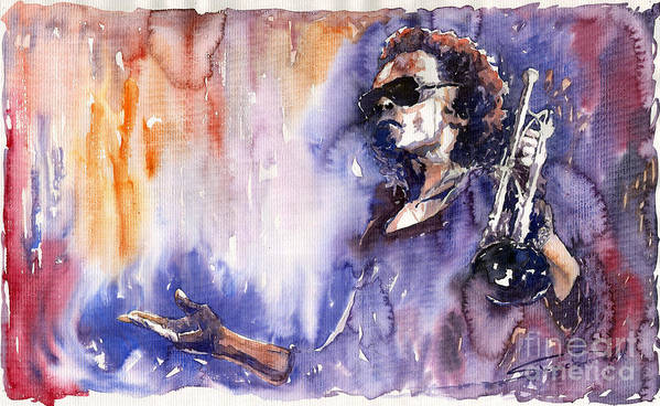 Jazz Art Print featuring the painting Jazz Miles Davis 14 by Yuriy Shevchuk
