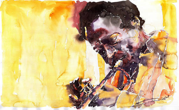 Jazz Music Watercolor Watercolour Miles Davis Trumpeter Portret Art Print featuring the painting Jazz Miles Davis 6 by Yuriy Shevchuk
