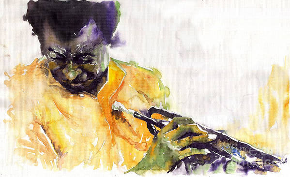 Davis Figurativ Jazz Miles Music Portret Trumpeter Watercolor Watercolour Art Print featuring the painting Jazz Miles Davis 7 by Yuriy Shevchuk