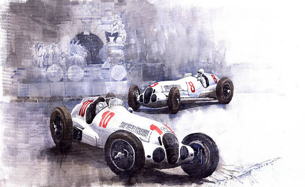 Watercolour Art Print featuring the painting Mercedes Benz W 125 1938 by Yuriy Shevchuk