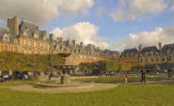 Paris Art Print featuring the digital art Place Des Vosges by Mick Burkey