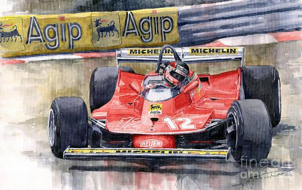 Watercolor Art Print featuring the painting Ferrari 312t4 Gilles Villeneuve Monaco Gp 1979 by Yuriy Shevchuk