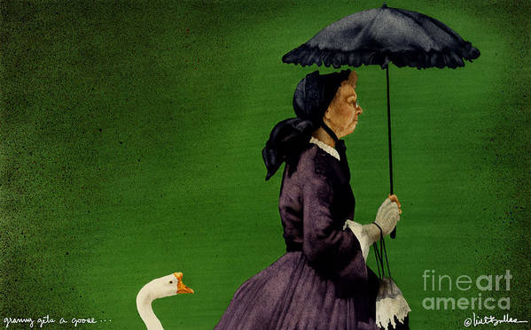 Will Bullas Art Print featuring the painting Granny Gets A Goose... by Will Bullas