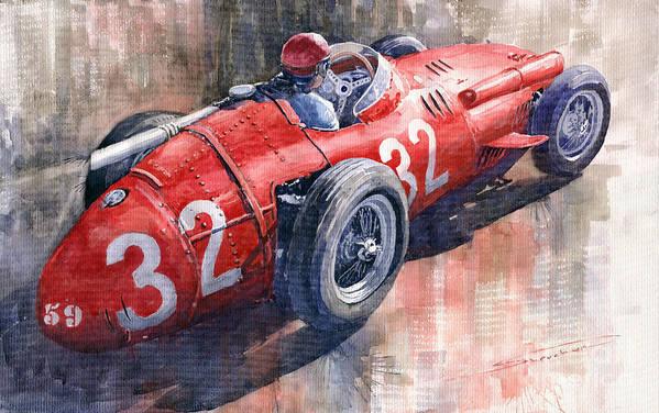 Watercolor Art Print featuring the painting Maserati 250f J M Fangio Monaco Gp 1957 by Yuriy Shevchuk