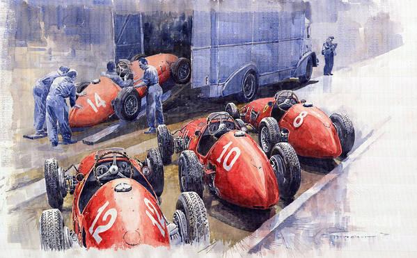 Watercolour Art Print featuring the painting Team Ferrari 500 F2 1952 French Gp by Yuriy Shevchuk