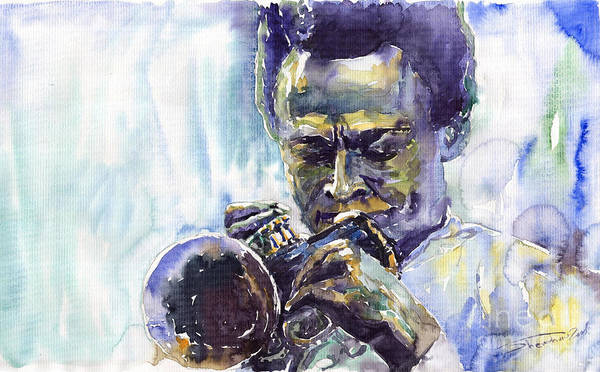 Jazz Miles Davis Music Musiciant Trumpeter Portret Art Print featuring the painting Jazz Miles Davis 10 by Yuriy Shevchuk