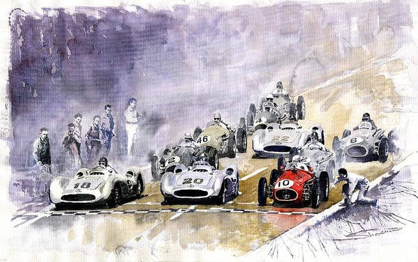 Watercolour Art Print featuring the painting 1954 Red Car Maserati 250 France Gp by Yuriy Shevchuk