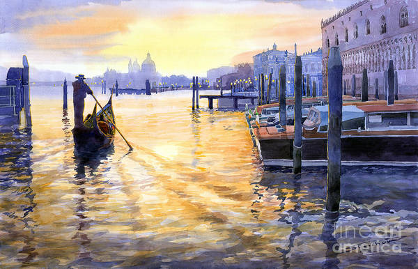 Watercolor Art Print featuring the painting Italy Venice Dawning by Yuriy Shevchuk