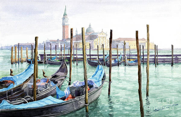 Watercolor Art Print featuring the painting Italy Venice Gondolas Parked by Yuriy Shevchuk