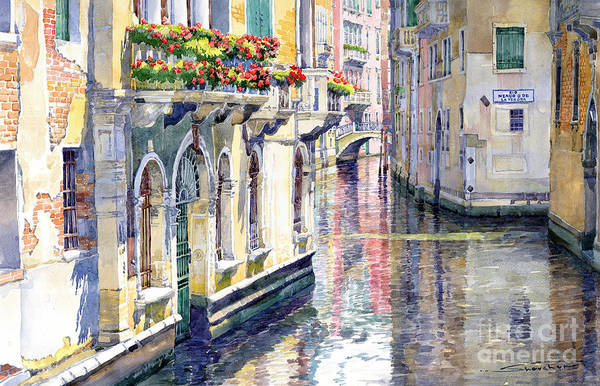 Watercolor Art Print featuring the painting Italy Venice Midday by Yuriy Shevchuk