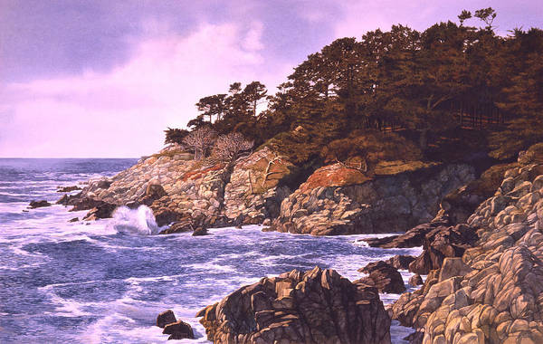 Seascape Art Print featuring the painting Monterey Glory by Tom Wooldridge