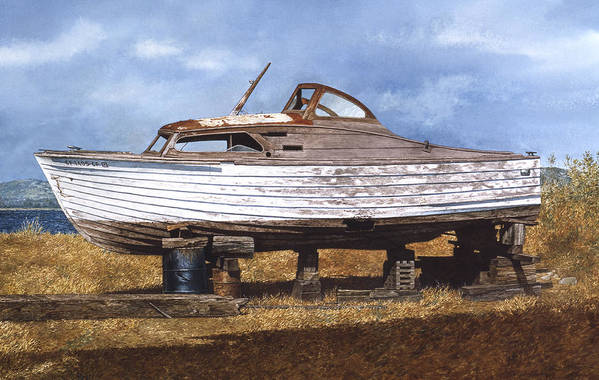 Boats Art Print featuring the painting Old Salt by Tom Wooldridge