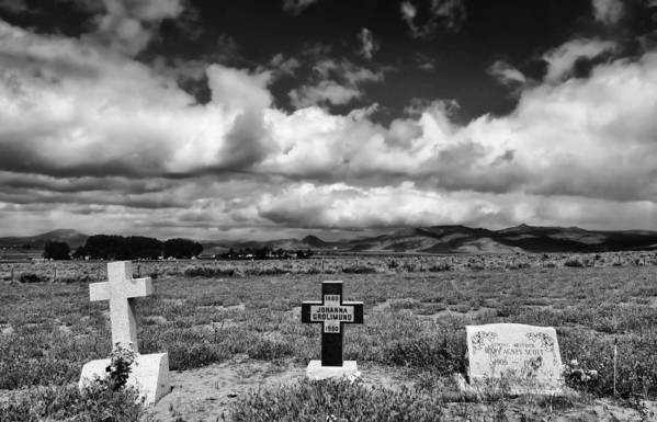 Headstones Art Print featuring the photograph Three Headstones by Mick Burkey