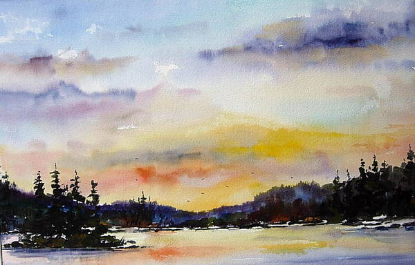 Landscape Art Print featuring the painting Suset At The Lake by Wilfred McOstrich