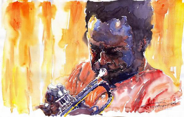 Jazz Miles Davis Music Watercolor Watercolour Figurativ Portret Trumpeter Art Print featuring the painting Jazz Miles Davis 8 by Yuriy Shevchuk