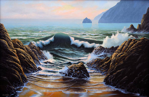 Seascape Art Print featuring the painting Dancing Tide by Frank Wilson