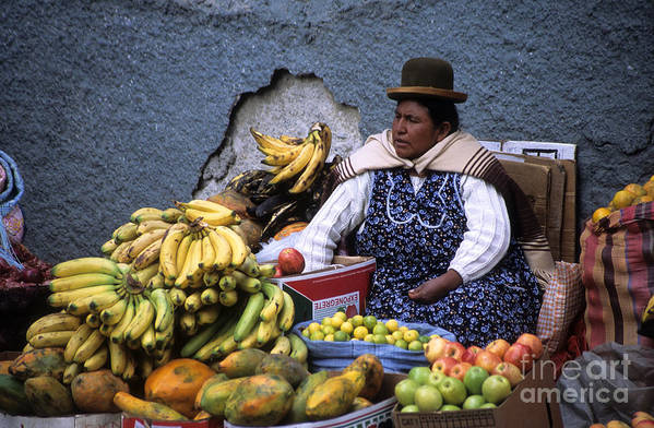 Bolivia Art Print featuring the photograph Fruit Seller by James Brunker