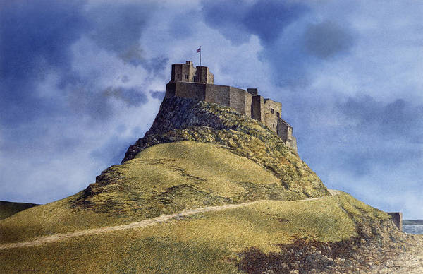 Landscape Art Print featuring the painting Lindisfarne Castle by Tom Wooldridge