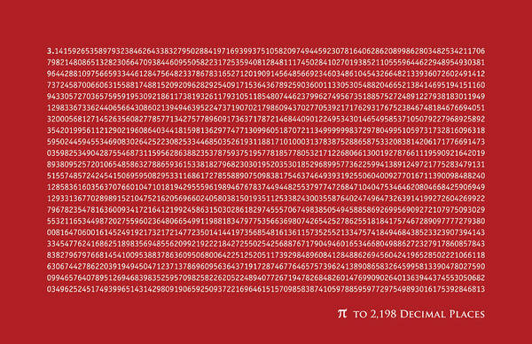 Number Pi Print featuring the digital art Pi To 2198 Decimal Places by Michael Tompsett