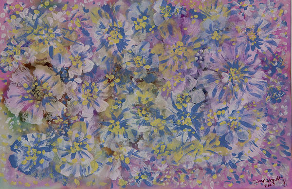 Opalescent Medium On Archival Paper Art Print featuring the painting Pink On Blue by Don Wright