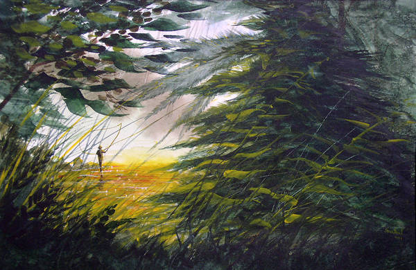Fishing Art Print featuring the painting Rocky Stream by Sean Seal