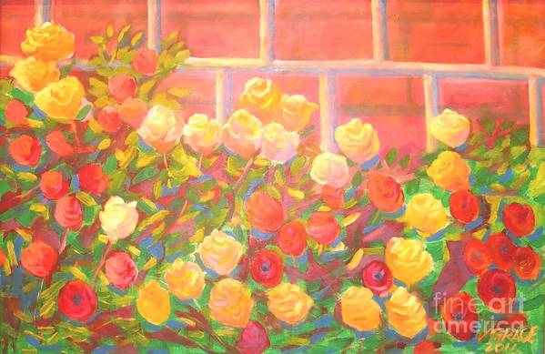 Rose Garden Art Print featuring the painting Roses The Gift Of Lovers. by Arnold Grace