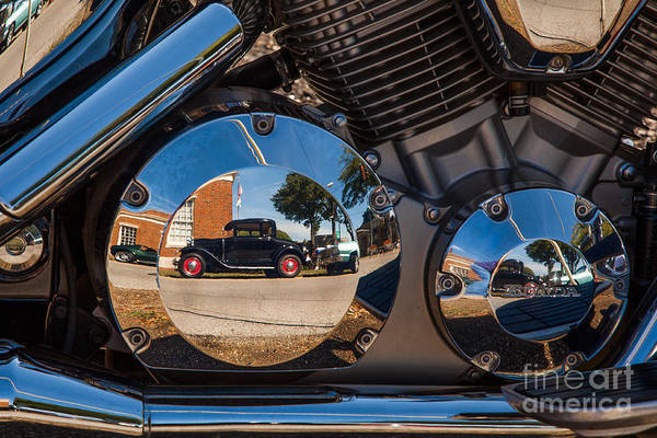 1930 Art Print featuring the photograph 1930 Ford Reflected In 2005 Honda Vtx by T Lowry Wilson