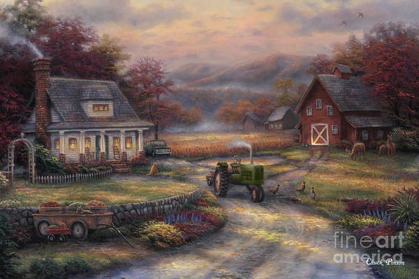 Tractor Art Print featuring the painting Afternoon Harvest by Chuck Pinson
