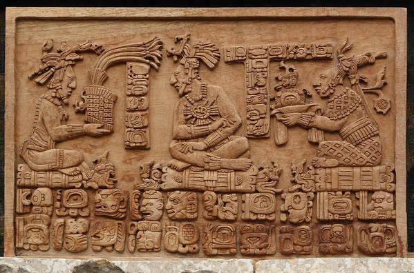 Aztec Woodcarving Tablets Art Print featuring the photograph Aztec Woodcarving Tablets by Viktor Savchenko