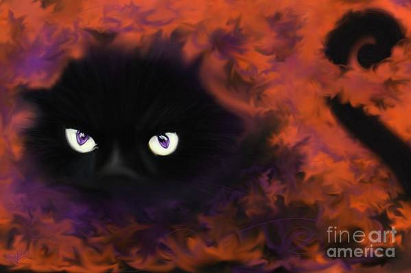 Black Cat Art Print featuring the painting Boo by Roxy Riou