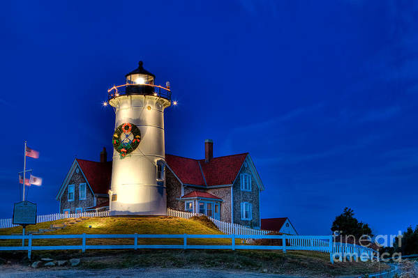 Lighthouse Art Print featuring the photograph Christmas By The Sea by Michael Petrizzo