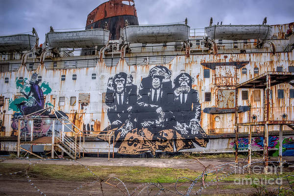 Abandoned Art Print featuring the photograph Council Of Monkeys by Adrian Evans