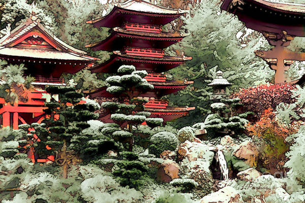 Impressionism Art Print featuring the photograph Japanese Tea Garden by Linda Parker