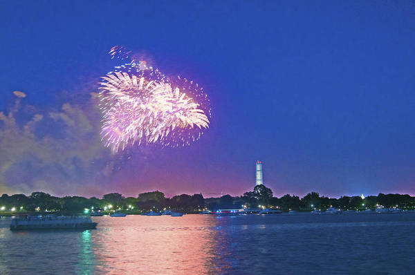 Washington Dc Art Print featuring the photograph July 4th Fireworks Along The Potomac by Steven Barrows
