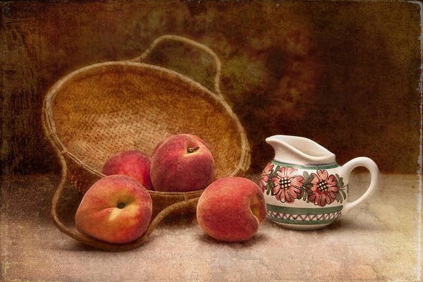 Basket Art Print featuring the photograph Peaches And Cream Still Life II by Tom Mc Nemar