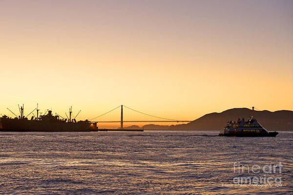 San Francisco Harbor At Pier 39 Art Print featuring the photograph San Francisco Harbor Golden Gate Bridge At Sunset by Artist and Photographer Laura Wrede