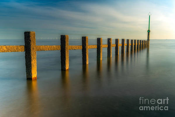 Groynes Art Print featuring the photograph Seascape Wales by Adrian Evans