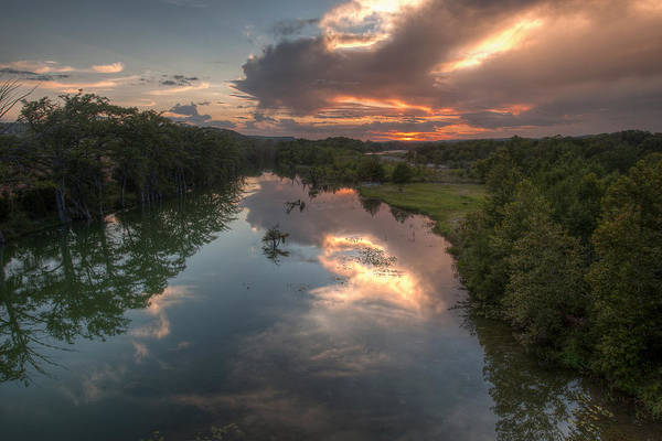 Guadalupe Print featuring the photograph Sunset On The Guadalupe River by Paul Huchton