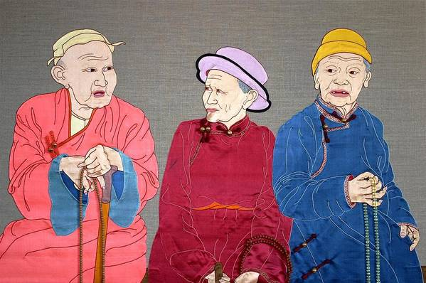 Textile Art Print featuring the mixed media Three Mongolians by Leslie Rinchen-Wongmo