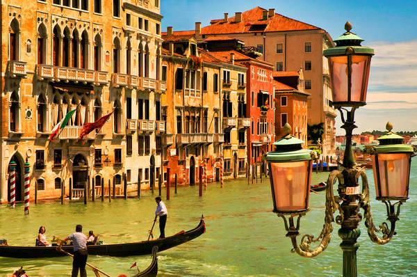 Venice Art Print featuring the digital art Venice Street Lamp by Mick Burkey