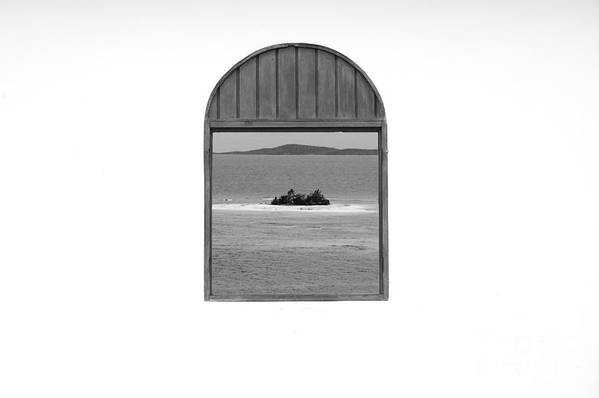 Puerto Rico Art Print featuring the photograph Window View Of Desert Island Puerto Rico Prints Black And White by Shawn O'Brien