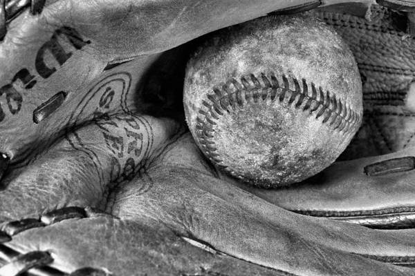 Baseball Print featuring the photograph Worn In Bw by JC Findley