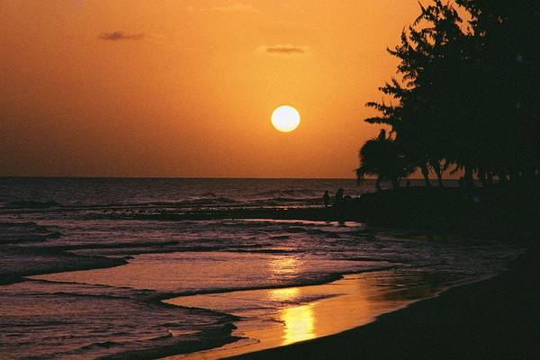 Barbados West-indies Caribbean South Coast Beach Sunset Natural Colors Tourism Tourist Resort Destination World Standard Art Print featuring the photograph Accra Beach Sunset by Ronald Griffith
