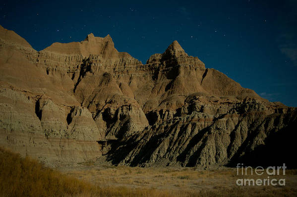 Badlands National Park Art Print featuring the photograph Badlands Moonlight by Chris Brewington Photography LLC