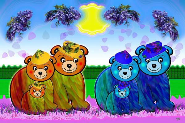 Bear Art Print featuring the digital art Bears by Victoria Regueira