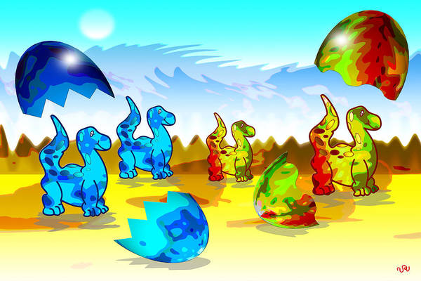 Dinosaurs Art Print featuring the digital art Dinosaurs by Victoria Regueira